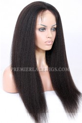 Kinky Straight Indian Remy Hair Glueless Lace Front Wigs