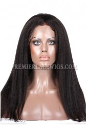 Kinky Straight Glueless Lace Front Wigs Brazilian Virgin Hair