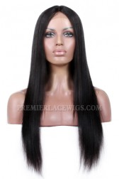 Affordable Middle Part Lace Wig Yaki Straight Indian Remy Hair