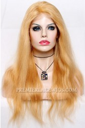 Blonde Color 27/613# Highlights Lace Front Wigs Chinese Virgin Hair Natural Straight