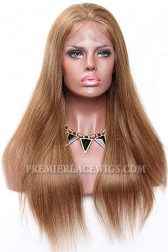 6/8# Blending Brown Color Lace Front Wigs Indian Remy Human Hair Light Yaki(Not in stock, Need 30 days to process)
