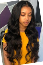 "Body Wave Hair Indian Remy 13""x4"" Lace Frontal Wig [Pre-bleached knots only for natural black,Pre-plucked hairline,Removable elastic band]"