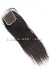 Brazilian Virgin Hair Lace Closure Natural Color Yaki Straight 4x4inches