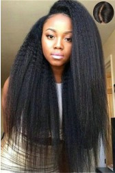"Human Hair Kinky Straight,4.5"" Super Deep C Side Part Lace Front Wigs{Custom Wig Production Time 7-10 working days}"