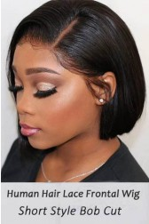 Bone Straight Bob Cut Lace Frontal Wig Indian Remy Hair