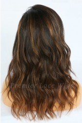 Amina-- Balayage Highlights Virgin Hair Lace Wig,150% thick density, Pre-bleached knots,Removable elastic band