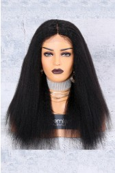 130% Density Affordable Lace Wig Kinky Straight Indian Remy Hair,Average Cap Size