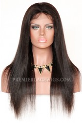 Brazilian Virgin Hair Full Lace Wigs Light Yaki