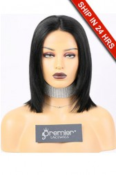 Kiara-- 13x3 Lace Frontal Wig Bob Yaki Straight,Indian Remy Hair 1#,150% Density,Average Size,Removable Elastic Band