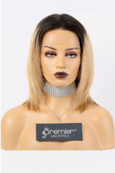 Laila-- 13x3 Lace Frontal Wig Bob Yaki Straight,Blonde Ombre Hair,150% Density,Average Size,Removable Elastic Band
