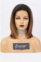 Gabrielle-- 13x3 Lace Frontal Wig Bob Yaki Straight,Brown Ombre Hair,150% Density,Average Size,Removable Elastic Band