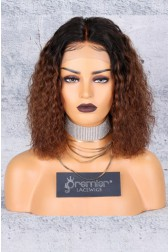"Brown Ombre Bob Textured Natural Curls 12 inches,13""x6"" Lace Frontal Wig.[Pre-bleached Knots,Pre-plucked Hairline,Removable elastic band]"