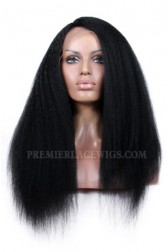 Affordable Side Part Lace Wig Kinky Straight Indian Remy Hair