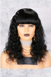 Deep Body Wave Full Bangs Non-Lace Wig, Indian Remy Hair,1# Color,150% Thick Density,Average Cap Size,Pre-Added Removable Elastic Band