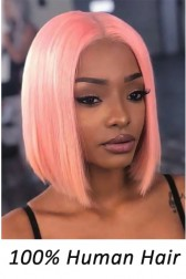 Pink Color Blunt Cut Bob Affordable Middle Part T Lace Wig, Indian Remy Human Hair 12 inches