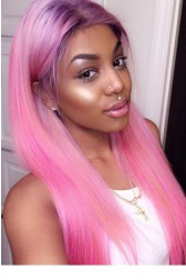 Colored Human Hair Full Lace Wigs Indian Remy Hair Silky Straight