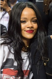 Rihanna Long Style 22inches Black Hair Straight Human Hair Celebrity Lace Wigs