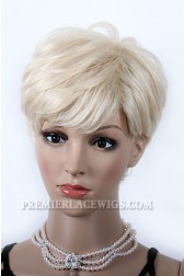 613# Blonde Human Hair Pixie Cut Short Style Affordable Machine Made Glueless Cap Wigs