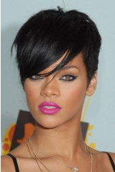 Rihanna Side-Swept Fringe Pixie Cut Short Style, Indian Remy Hair Machine Made Glueless Cap Wigs