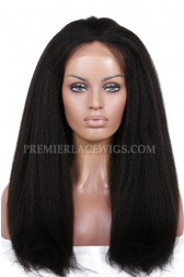 Luxury Brazilian Virgin Hair Glueless Silk Top Lace Front Wigs Kinky Straight