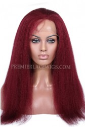 118# Red Color Kinky Straight Brazilian Virgin Hair Glueless Lace Front Wigs