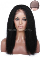 Silk Top Glueless Lace Front Wigs Indian Remy Hair Italian Yaki