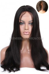 Luxury Brazilian Virgin Hair Glueless Silk Top Lace Front Wigs Straight