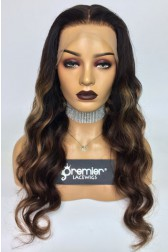 "Evelyn--Gorgeous Wavy Hair Ombre Highlights Transparent Lace 13""x4"" Lace Frontal Wig [Pre-bleached knots, Pre-plucked hairline, Removable elastic band]"