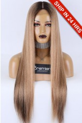 """5""""*5"""" Silk Top Full Lace Wig Yaki Straight Brown Blonde Hair, Brazilian Virgin Human Hair 26 inches 120% Extra Small Size 20.5"""" Circumference"""
