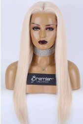 """Zoey--Vanilla Blonde 60# Hair 13""""×6"""" Transparent HD Lace Front Wig, Grade A+ Ponytail Virgin Human Hair Silky Straight,Pre-plucked Hairline"""