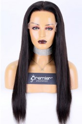 """Ponytail Virgin Human Hair 13""""×6"""" Transparent HD Lace Front Wig,Natural Color Silky Straight, Medium Size 150% Thick,Pre-bleached knots"""