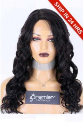 Affordable Silk Base Side Part Wig Wavy,Indian Remy Human Hair 1B# 22 inches 150% Medium Size