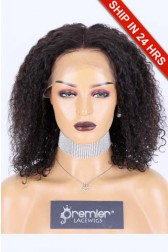 """14 inches Bob Style Kinky Curly 13""""x4"""" Lace Frontal Wig, Indian Remy Human Hair Natural Color 130% Average Size"""