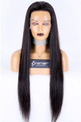 Super Long 28 inches Full Lace Wigs Silky Straight Chinese Virgin Hair Natural Color 130% Normal Density Medium Size