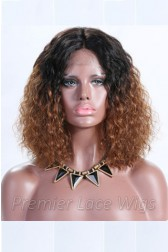 Brown Ombre Bob Textured Natural Curls Lace Front Wigs Indian Remy Hair [Pre-bleached Knots,Pre-plucked Hairline,Removable elastic band]