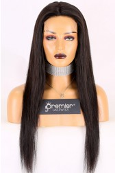 """Super Thin Transparent HD Lace, 5""""x5"""" HD Lace Closure Wig, Silky Straight [Pre-bleached knots only for natural black color, Pre-plucked hairline, Removable elastic band]"""