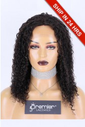Affordable Silk Base Middle Part Wig Curly,Indian Remy Human Hair Natural color 14 inches 130% Medium Size