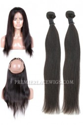 Peruvian Virgin Hair Natural Straight 360°Circular Lace Frontal with 2 Weaves Bundles Deal