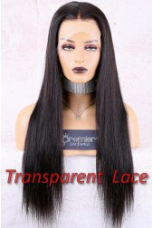 Transparent Lace Full Lace Wig,Chinese Virgin Hair Silky Straight,Pre-Plucked Hairline