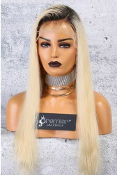"Dark Roots Blonde Hair 4.5"" Lace Front Wig, Silky Straight Indian Remy Hair"