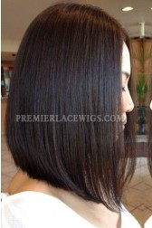 Trendy Long Bob Hairstyle Black Color Virgin Hair Lace Front Wigs