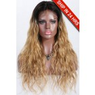 Kayla- 13x3 Lace Frontal Wig Blonde Ombre Wavy Style Indian Remy Hair 20 inches,150% Density,Removable Elastic Bands