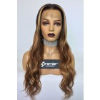 Janelle-- Ombre Style Wavy Virgin Hair Lace Wig,150% thick density, Pre-bleached knots,Removable elastic band