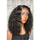 Tracey-- Gorgeous Curly Hair Bob Cut Lace Frontal Wig  [Pre-bleached knots, Pre-plucked hairline, Removable elastic band]