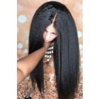 "Blowout Style Kinky Straight 13""x6"" Lace Frontal Wig,Indian Remy Human Hair [Pre-bleached knots only for natural black,Pre-plucked hairline,Removable elastic band]"