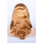 Blonde Full Lace Wigs With Baby Hair Chinese Virgin Hair 27# Blonde Wavy Full Lace Wigs