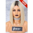"""Blonde Hair Dark Roots Bob Cut,4.5"""" Lace Front Wig,Silky Straight 150% Density"""