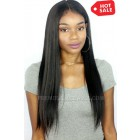 Relaxed Hair Yaki Texture 360 Lace Wig.Indian Remy Hair,Pre-plucked Hairline,Removable Elastic Band