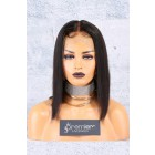Blunt Cut Bob Style 360 Lace Wig, Brazilian Virgin Hair,Middle Part Yaki Straight,150% Thick Density ,Pre-Plucked Hairline