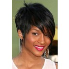 Short Style Side-Swept Bangs Indian Remy Hair Machine Made Glueless Cap Wigs